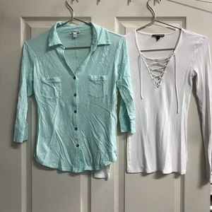 Express Small Blue & XS White Long Sleeve Shirts